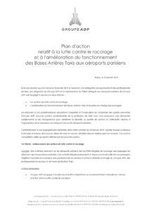 Plan d'action relatif à la lutte contre le racolage et à l'amélioration du fonctionnement des bases arrières taxis aux aéroports parisiens
